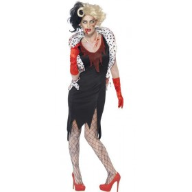Ladies Zombie Cruella Evil Madame Halloween Fancy Dress Costume