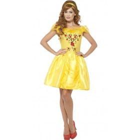 Ladies Yellow Enchanting Beauty Fancy Dress Costume