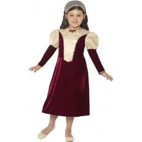 Girls Purple Tudor Damsel Princess Fancy Dress Costume