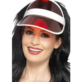 Adult's Red 80's/Sun/Tennis/Poker Visor Fancy Dress Accessory