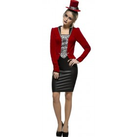 Ladies Red Fever Vampiress Halloween Fancy Dress Costume