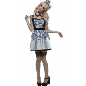 Ladies Blue Fever Broken Doll Annie Halloween Fancy Dress Costume