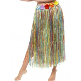 Hawaiian Hula Skirt with Flowers, with Velcro Fancy Dress Accessory