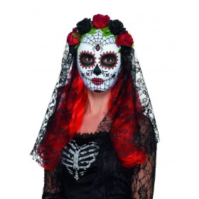 Day of the Dead Senorita Mask, Full Face Fancy Dress Accessory
