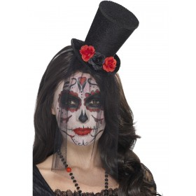 Day of the Dead Mini Top Hat Fancy Dress Accessory