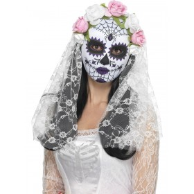 Day of the Dead Bride Mask, Full Face Fancy Dress Accessory