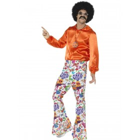 60s Groovy Flared Trousers, Mens Fancy Dress Costume