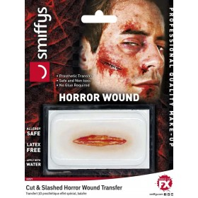 Horror Wound Transfer, Cut & Slashed Wound Fancy Dress Accessory
