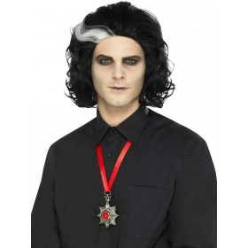 Deluxe Vampire Metal Medallion Necklace Fancy Dress Accessory