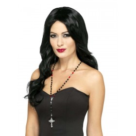 Gothic Vampire Rosary Bead Necklace Fancy Dress Accessory