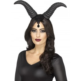 Demonic Queen Horns, on Headband Fancy Dress Accessory