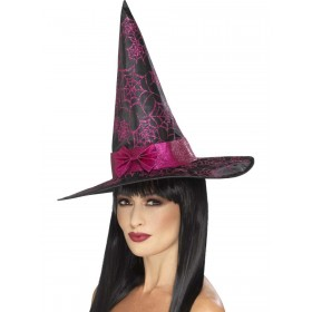 Glitter Cobweb Witch Hat Fancy Dress Accessory