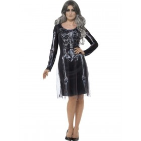Lady Skeleton Costume Fancy Dress