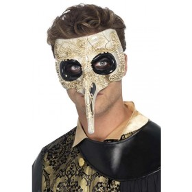 Men'S Black Death Plauge Doctor Halloween Fancy Dress Mask