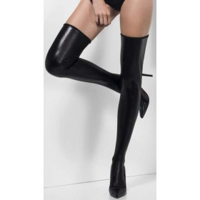 Ladies Black Wet Look Hold-Ups