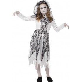 Girls Grey Ghostly Bride Halloween Fancy Dress Costume