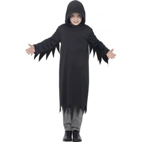 Boys Black Dark Reaper Halloween Fancy Dress Costume