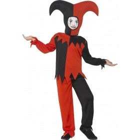 Boys Red & Black Twisted Jester Halloween Fancy Dress Costume