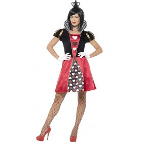 Ladies Red Carded Queen Fancy Dress Costume