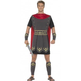 Mens Black Roman Gladiator Fancy Dress Costume