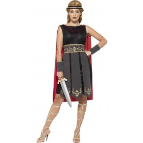 Ladies Black Roman Warrior Fancy Dress Costume