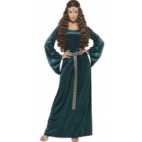 Ladies Green Medieval Maid Fancy Dress Costume