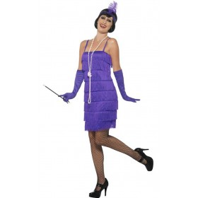 Ladies Short Purple Flapper Fancy Dress Costume