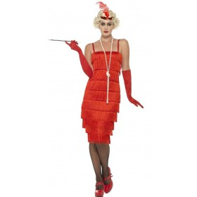 Ladies Long Red Flapper Fancy Dress Costume