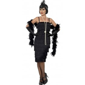 Ladies Long Black Flapper Fancy Dress Costume