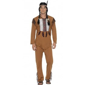 Mens Brown Native Western Warrior Fancy Dress Costume