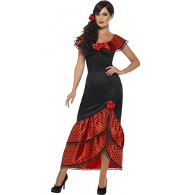 Ladies Spanish Flamenco Senorita Fancy Dress Costume
