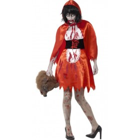 Ladies Zombie Little Miss Hood Halloween Fancy Dress Costume