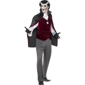 Mens Black Vampire Halloween Fancy Dress Costume