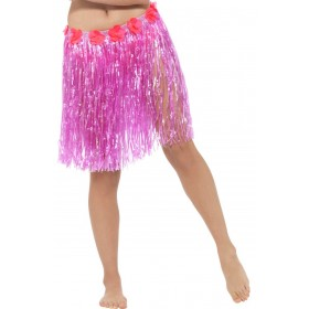 Neon Pink Hawaiian Hula Skirt With Flowers Fancy Dress Accessory