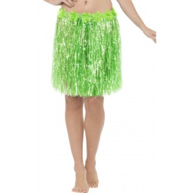 Neon Green Hawaiian Hula Skirt With Flowers Fancy Dress Accessory