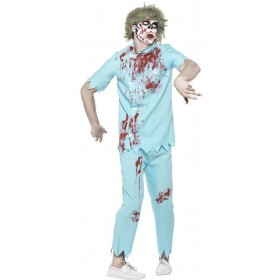Mens Blue Zombie Dentist Halloween Fancy Dress Costume