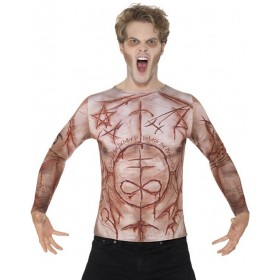 Mens Mutilated Skin T-shirt Halloween Fancy Dress Costume