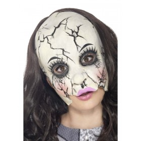 Damaged Doll Mask Fancy Dress Accessory