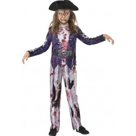 Girls Blue Deluxe Jolly Rotten Pirate Halloween Fancy Dress