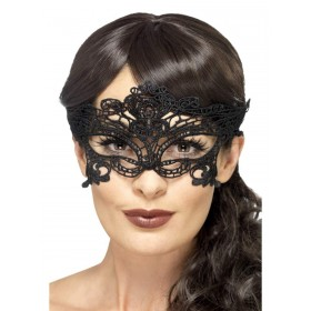 Embroidered Lace Filigree Heart Eyemask Fancy Dress Accessory