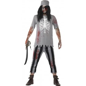 Mens Grey Zombie Pirate Halloween Fancy Dress Costume