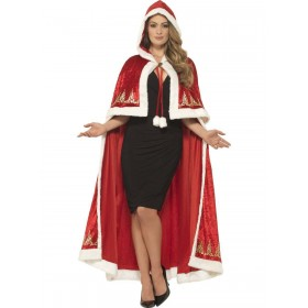 Deluxe Miss Claus Cape Fancy Dress Costume