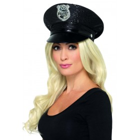 Fever Sequin Police Hat Fancy Dress Accessory