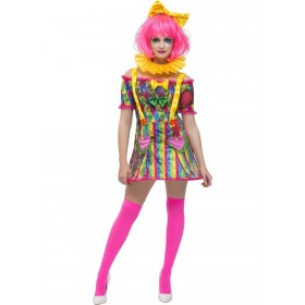 Fever Patchwork Clown Costume Fancy Dress