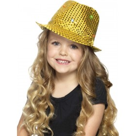 Light Up Sequin Trilby Hat Fancy Dress Accessory