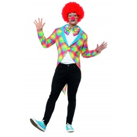 Checked Clown Tailcoat Fancy Dress Costume