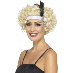 White Satin Charleston Headband Fancy Dress Accessory