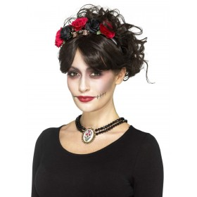 Day of the Dead Beaded Choker Fancy Dress Accessory