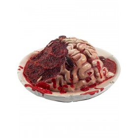 Latex Gory Gourmet Rotting Brain Plate Prop Fancy Dress Accessory