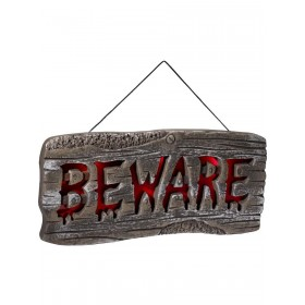 Light Up Hanging Beware Sign Fancy Dress Accessory